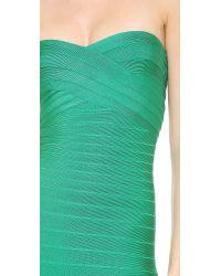 Hervé Léger - Green Sara Strapless Dress - Lyst