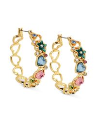 Betsey Johnson | Metallic Antique Goldtone Multiheart Hoop Earrings | Lyst