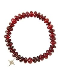 Sydney Evan - Yellow 8Mm Faceted Garnet Beaded Bracelet With 14K Gold/Diamond Small Moroccan Flower Charm (Made To Order) - Lyst