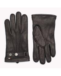Tommy Hilfiger Black Leather Tailored Gloves for men