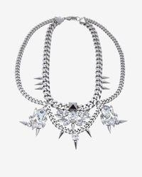 Fallon - Metallic Classique Bib Chain Necklace Silver - Lyst