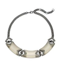 Alexis Bittar | Metallic Cubist Lucite & Crystal Small Link Bib Necklace | Lyst