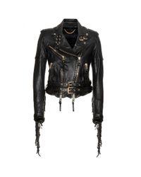 Burberry Prorsum - Black Fringed Leather Jacket - Lyst