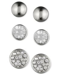 Nine West | Metallic Silver-tone Crystal Stud Earring Trio | Lyst