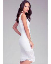 Bebe White Double V-neck Open Stitch Dress