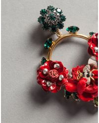 Dolce & Gabbana - Red Velvet Rose Hoop Earrings With Bee - Lyst