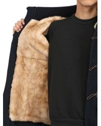 Bark Blue Cashmere Duffle Coat With Fur Lining for men