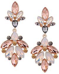 Guess Metallic Gold-tone Multi-stone Chandelier Earrings