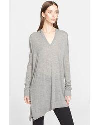 Donna Karan | Gray Asymmetrical Cashmere Hoodie | Lyst