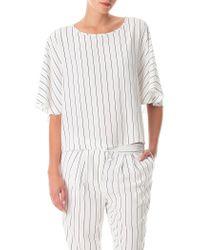 Tibi White Striped Silk Cape Top