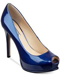 Guess | Blue Women's Honora Peep Toe Platform Pumps | Lyst