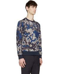 KENZO - Blue Floral And Stripes Sweatshirt for Men - Lyst