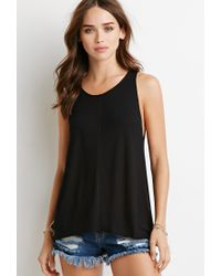 Forever 21 | Black Center-seam Ribbed Tank | Lyst
