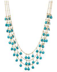 Anne Klein - Blue Layered Shaky Turquoise Bead Necklace - Lyst