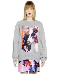 MSGM Gray Printed Cotton Sweatshirt