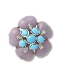 Kenneth Jay Lane | Blue Lavender Flower Brooch | Lyst