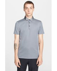 Lanvin | Gray Grosgrain Collar Polo for Men | Lyst