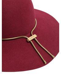 Lanvin - Red Rabbit Fur Felt Hat With Chain - Lyst