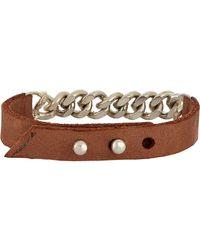Loren Stewart - Brown Leather & Chain Bracelet for Men - Lyst