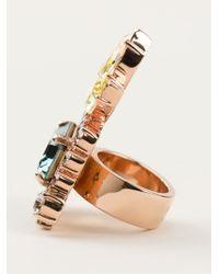Mawi Multicolor Embellished Cocktail Ring