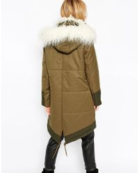 ASOS Parka With Quilting Detail And Faux Mongolian Fur Trim - Green