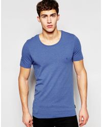 French Connection Stretch Muscle Fit Low Crew Neck T-shirt - Blue for men