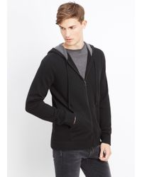Vince Black Cashmere Hoodie With Raised Seam Detail for men