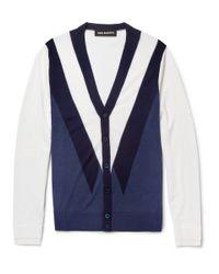 Neil Barrett | Blue Patterned Fineknit Merino Wool Cardigan for Men | Lyst