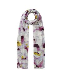 John Lewis Purple Large Watercolour Floral Print Scarf