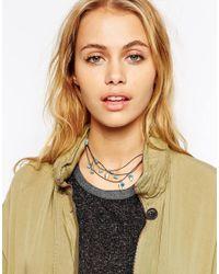 ASOS Black Multi Row Leaf Cord Choker Necklace