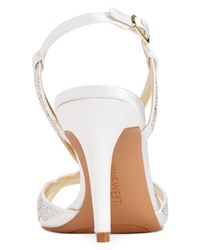 Nine West White Illona Mid-Heel Evening Sandals