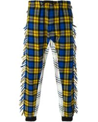Moschino - Blue Tartan Straight Leg Trousers for Men - Lyst