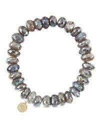 Sydney Evan   Yellow 10mm Mystic Labradorite Beaded Bracelet With 14k Gold/diamond Round Evil Eye Charm (made To Order)   Lyst
