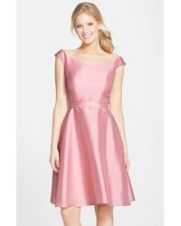 Alfred Sung - Pink Dupioni Fit & Flare Dress - Lyst