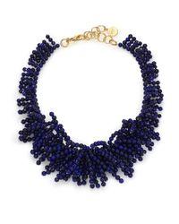 Nest | Black Lapis Beaded Fringe Bib Necklace | Lyst