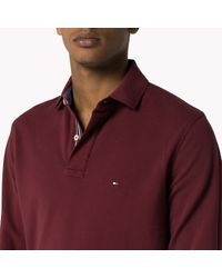 Tommy Hilfiger | Red Cotton Pique Long Sleeve Polo for Men | Lyst