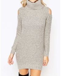 Fashion Union | White Roll Neck Ribbed Mini Dress With Open Shoulder | Lyst