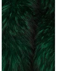 Barbara Bui Green Raccoon Fur Stole
