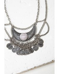 Forever 21 - Metallic Etched Crescent Medallion Necklace - Lyst