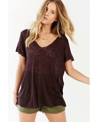 Project Social T - Purple Textured-knit V-neck Tee - Lyst