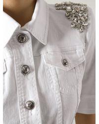 Philipp Plein - White Embellished Denim Blouse - Lyst