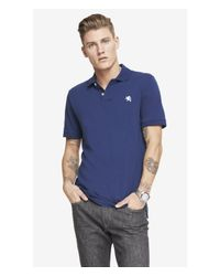 Express - Blue Modern Fit Small Lion Pique Polo for Men - Lyst