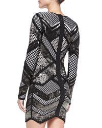 Hervé Léger Black Rowyn Geometric Beaded Dress
