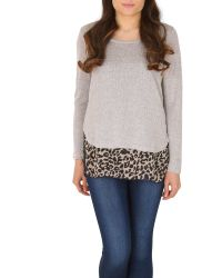 Izabel London | Gray Polyester Elastane Long Sleeve Animal | Lyst