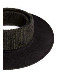 Maison Michel Black 'mathias' Rib Knit Topless Furfelt Hat for men