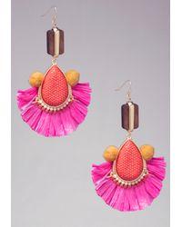 Bebe - Pink Tassel Pom Earrings - Lyst