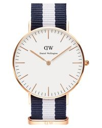 Daniel Wellington Blue 'classic Glasgow' Round Nato Strap Watch
