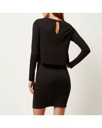 River Island - Black Double Layered Bodycon Dress - Lyst