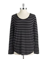 Two By Vince Camuto | Black Striped Hi Lo Top | Lyst