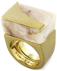 Vince Camuto Metallic Gold-Tone Natural Horn Resin Block Ring